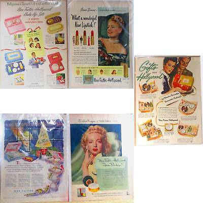 5 Magazine ads Max Factor Hollywood 1940's-1950's ᵛ