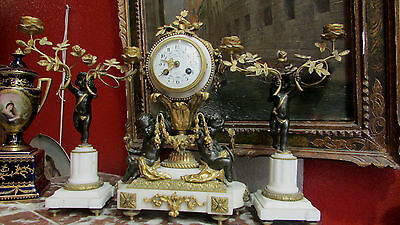 pendulum support bronze golden 19e st L XVI napoleon III mantel clock putti
