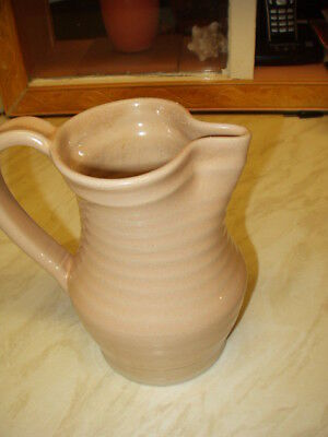BOURNE DENBY DERBY RIBBED JUG in Beige 18cm high 13-18cm wide. Great condition