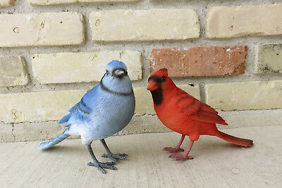 Blue Jay Red Cardinal Birds Figurines Ornament Resin New Bird Outdoor Decor