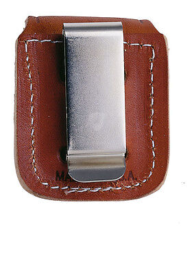 Zippo Leather Bag, Holster with Metal Clip, Braun