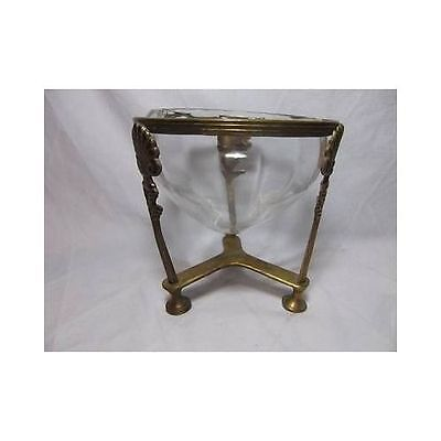 Vintage BRASS FOOTED CENTERPIECE BOWL potpourri compote antique pedestal urn