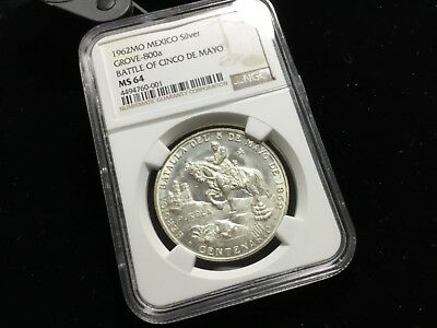 NGC MS 64 1962 MEXICO SILVER MEDAL BATTLE OF CINCO DE MAYO GROVE-800a n_01223