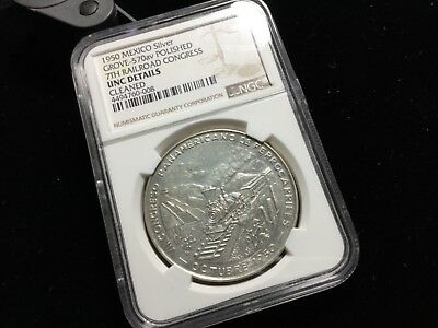 NGC UNC DETAILS MEXICO SILVER MEDAL 7 TH RAILROAD CONGRESS GROVE-570av 43503