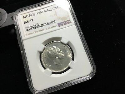 Ngc Ms 62 Iraq 1953 Silver 100 Fils 42218 We Do Not End Auctions Early Thank You