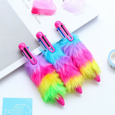 Novelty Plush Fur Ball Pens School Office Ballpoint Pen Girl Stationery Pop Gift