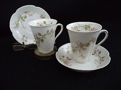 French Haviland china 2 chocolate cups saucers pink flowers Sch 444 Star blank