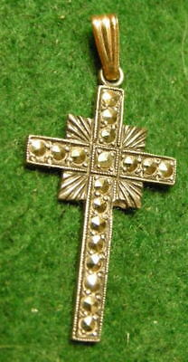 Vintage small STERLING SILVER CROSS with MARCASITE Sets. ca. 1940's - 50's.  NoR