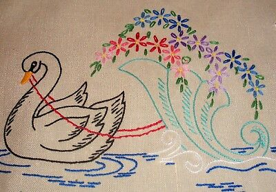 Vintage Hand Embroidered Black Swans Runner or Centrepiece Doily