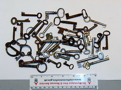Collection Of 43, Antique & Vintage Keys, Cabinet Keys, Box Keys.