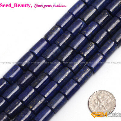 Column Tube Blue Lapis Lazuli Stone Loose Beads For Jewelry Making Strand 15""