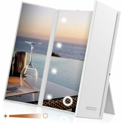 Tri-Fold Magnifying Vanity Makeup Mirror with Leds Light Portable Travel Mirror