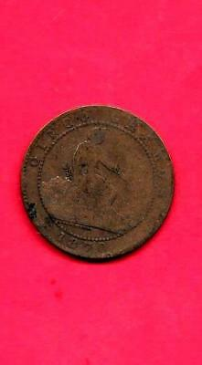 Spain Spanish Km662 1870 Fine-Nice Old Antique Vintage Bronze 5 Centiimes Coin