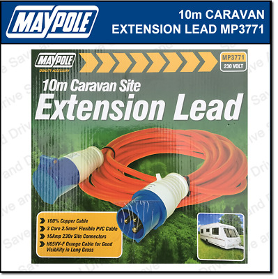 Maypole 10m Mains 230v 16A Hook Up Extension Cable Lead Caravan Motorhome MP3771
