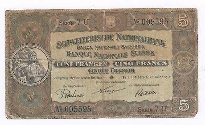 Switzerland 5 Franc Banknote 1St January 1916 Scarce Auction Starts At £1