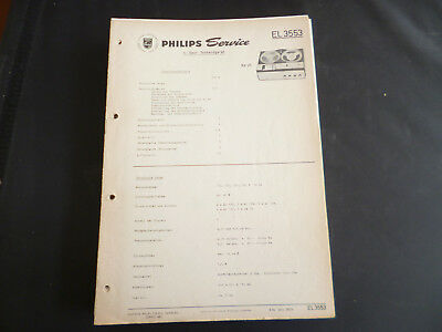 Tv, Video & Audio Original Service Manual Philips Tonbandgerät El 3555
