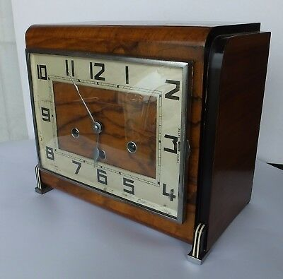 1930'S Art Deco Walnut Cased Chiming, Stricking Mantel Clock