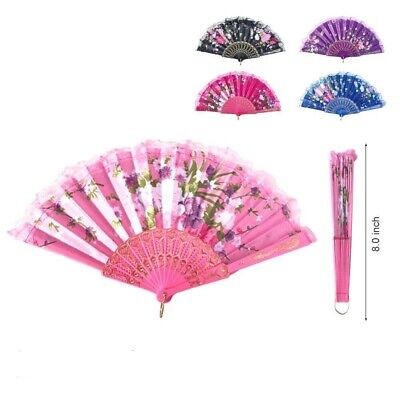 NEW Lot of 6 Pretty MIX COLOR  Ladies Folding Hand Fan Free Shipping