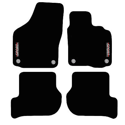 VW Golf MK6 2008 to 2013 Tailored Carpet Car Floor Mats with logo 4 Round Clips