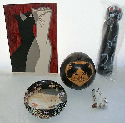 NEW 5 Piece CAT COLLECTION Kiyoshi Saito KOKESHI Nodder DISH Gourd BOX Magnet