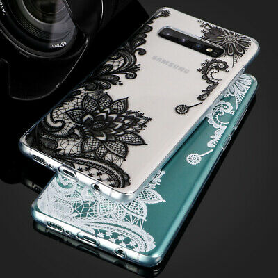 For Samsung Galaxy S10 S9 S8 Plus Flower Lace Mandala Hard Clear Back Case Cover
