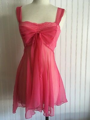 VINTAGE Gold Label VICTORIAS SECRET Sheer CORAL PINK Babydoll LACE NIGHTGOWN P