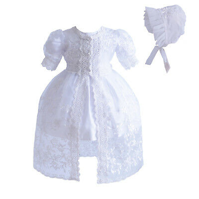 Baby White Lace Christening Gown Party Dress Cape Bonnet 0 3 6 12 18 24 Months