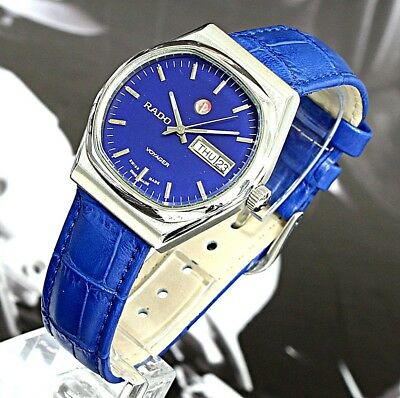 Vintage Rado Voyager TV Dial Swiss Made 17J Automatic Men's Watch Blue Dial&Band
