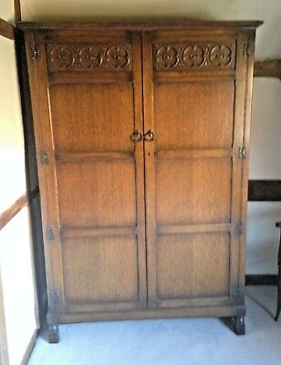 Arts and Crafts Oak Carved wardrobe