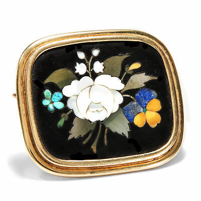 Around 1870: Antique Pietra Dura Brooch in Gold,Flowers Florence Micro Mosaic