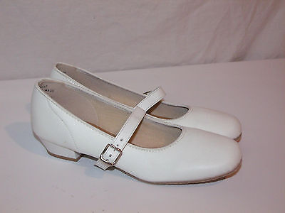 Womens Vintage PROMENADERS White Square Dancing Mary Jane Clogging Shoes 5 NOS
