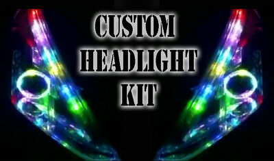 LED RGB Head Light Halo Angel Eye DRL Retrofit For Hyundai Santa Fe Terracan