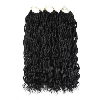 24 Roots Black Curly Crochet Twist Box Braids Synthetic Braiding Hair Extensions