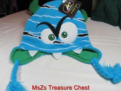 Boy's Cap & Gloves  Blue & Green Monster  size L/XL (8-16)  ** New with Tags **