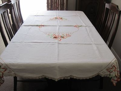 Beautiful Vintage Hand Embroidered Linen Tablecloth With Autumn Leaves Cutwork