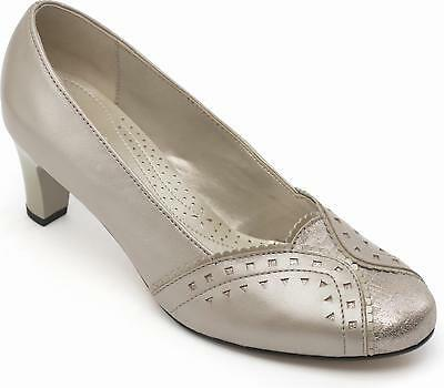 18f78de5d010a Padders JANET Ladies Womens Leather Wide (E Fit) Formal Court Shoes Stone  Pearl