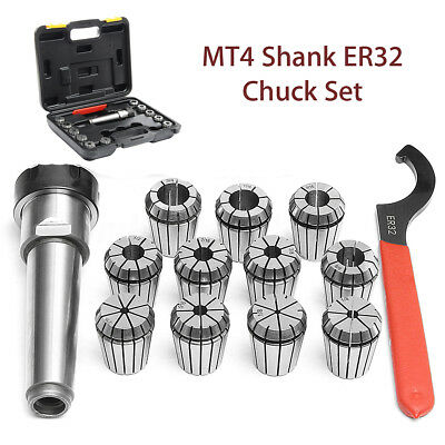 Precision ER32 Collet Set MT4 Shank Chuck & Spanner For Milling Machine With Box