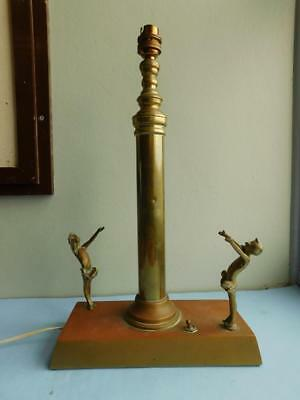 Beautiful Art Deco Electric Table Lamp Two Girls Salute to the Sun 1930s