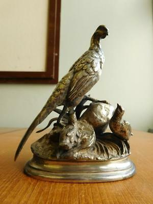 Beautiful French Signed Jules Moigniez Silver Figure Group Pheasants & Quail 188