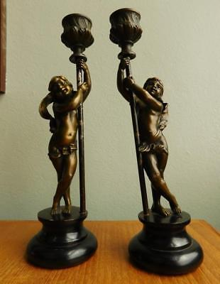 Lovely Antique Bronze Figurine Candle Stick Pair Wooden Bases 1800s