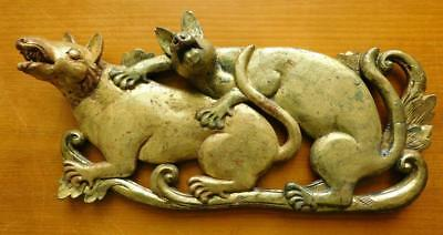 Chinese Carved & Gilt Wooden Wall Sculpture Hanging Two Animals