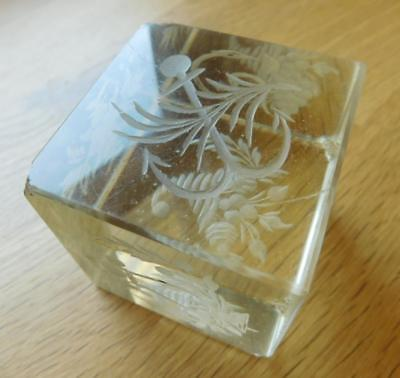 Rare Antique Solid Crystal Cube & Hand Cut Georgian paperweight 1800s