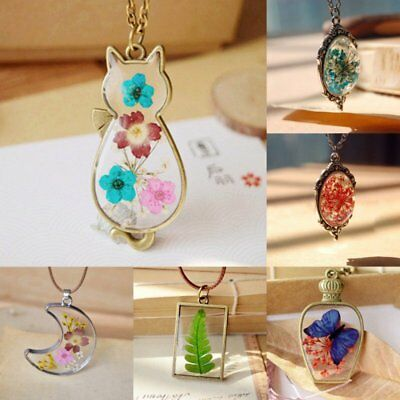 Natural Real Dried Flower Moon Cat Butterfly Glass Pendant Necklace Jewellery
