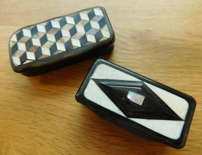 2 Victorian Horn Snuff Boxes Inlay Shell Bone etc 1800s
