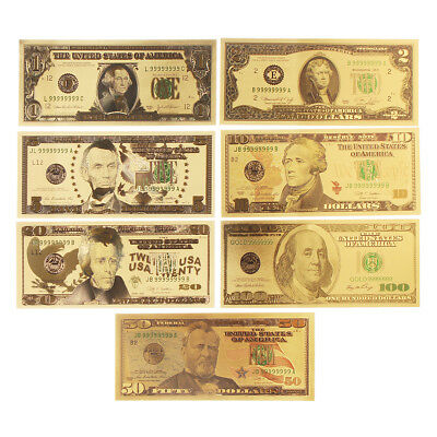 7X USD Dollar Gold Foil Golden Paper Money Currency Banknotes Crafts Collection
