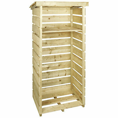 Charles Bentley Single Tall Log Store Made of Nordic Spruce - Heavy Duty