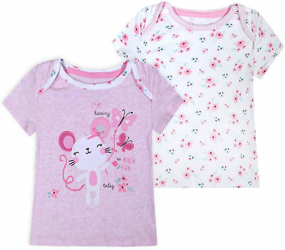 Girls Baby 100% Cotton Top Kids 2 PACK T-shirts White Pink 2PSC  3 6 9 12 Months