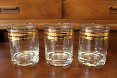 Mid Century Modern Vintage Culver Glassware Low Ball Striped Set of 3 Metallic