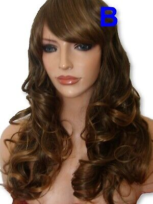 Light Brown Ombre curly hair real natural full head party Ladies adult WIG B3