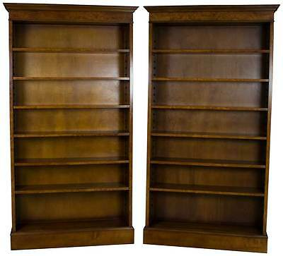 Antique Style New Pair of Walnut Open Bookcases Bookshelves Adjustable Tall